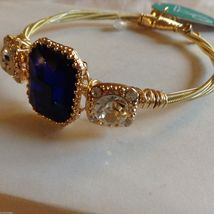 String Theory Guitar Strings Gold Bracelet w/ a Royal Blue Stone, Size 7 1/2 image 6