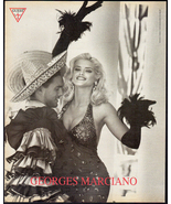 Georges Marciano Guess 1992 AD Black Sensual Sequin Dress Feather Gloves... - $9.99