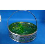 Green Vaseline glass three compartment relish dish w/ caddy. - $25.00