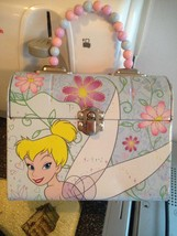 Vintage Disney Tinkerbell Pastel Beaded Handle Tin Metal Snack Lunch Box... - $12.99