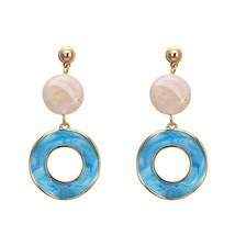 Stone Candy Colorful Enamel Drop Dangle Earrings Korean Charming Geometr... - $9.66
