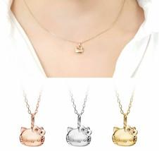 Sanrio Hello Kitty 18K Necklace Pendant Silver 925 Chain Pink Yellow Whi... - $613.79