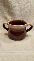 McCOY USA BROWN DRIP GLAZED STONEWARE SOUP/CHILI BOWL/MUG TWO HANDLES - $9.90
