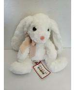Douglas White Mama Sitting Bunny Plush Stuffed Tan Bow Swirl Fur Floppy ... - $29.68