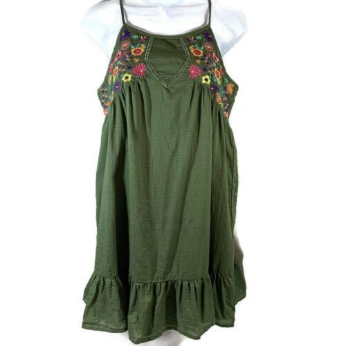 Primary image for The Children's Place Olive Green Floral Embroidered Sun Dress Size XL 14