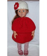 American Girl Red 3 Piece Outfit, Handmade Crochet, Poncho, Skirt, Hat - $22.00