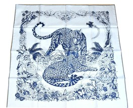 Hermes Scarf Jungle Love Blue Robert Dallet Silk 90 cm Animal Leopard Ca... - $652.41