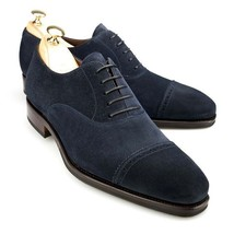 Handmade Men's Black Two Tone Dress/Formal Suede Oxford Shoes image 1