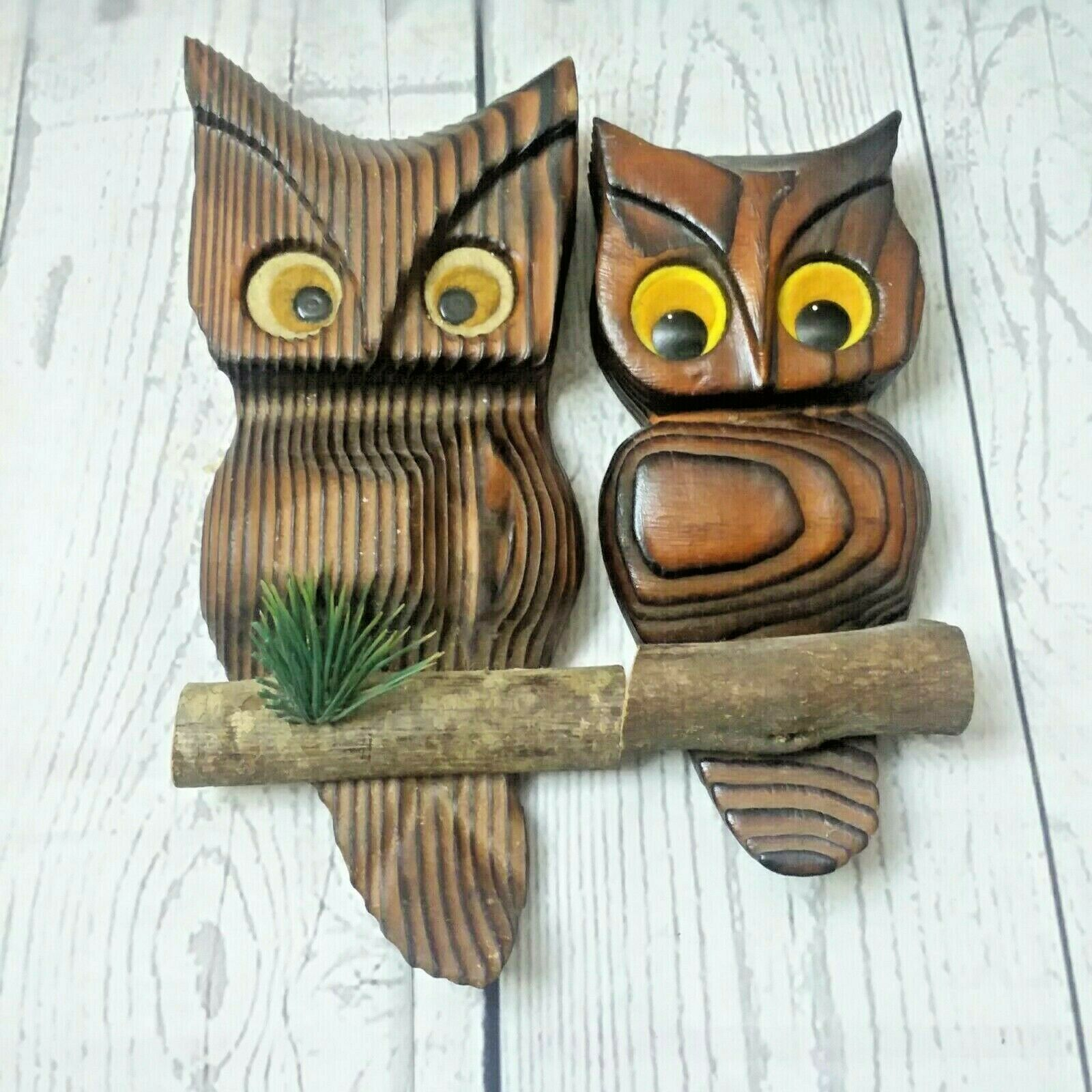 Primary image for Vintage Mid Century Carved Wood Owls Wall Art Hanging Phil-mor 1960's USA Made