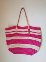 NWT Merona Straw Tote Bag Beach Purse Oversize Pink Stripe Natural Straw... - $24.24
