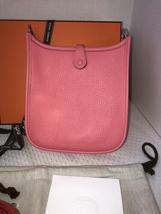 NEW-Auth HERMES Rose Azalea Clemence Evelyne Mini TPM Messenger/Shoulder Handbag image 4