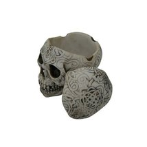 4.5 Inch Celtic Pattern Imprint Skull Container with Lid Figurine - $16.73
