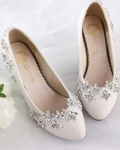 Women's Ivory Wedding Shoes,Crystal Wedding Shoes,White bridal shoes flats us 11 - $39.99