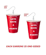 RED SOLO CUP LETS HAVE A PARTY EARRINGS - RED SOLO CUP EARRINGS - $11.99