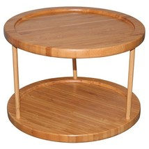 Bamboo 2 Tier Turntable Tray Home And Kitchen D... - $37.61