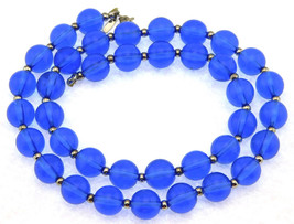 "Vintage Monet Necklace 18"" Single Strand All Translucent Blue Lucite Beads - $14.95"