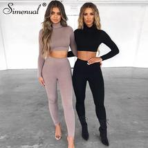 Simenual Fitness Solid Fashion Matching Set Women 2019 Autumn Winter Two... - $37.83