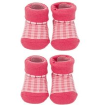 Tartan Infant Anti Skid Slip Baby Newborn Shocks Toddler Shoes 2 Pack Rose