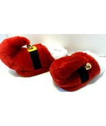 Red Faux Fur Santa Claus Elf Christmas Jingle Bell Slippers sz 7-8 M see... - $9.73
