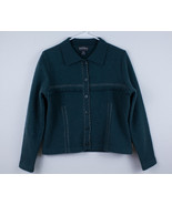 WOOLRICH Cardigan Sweater Women's Size S Petite Wool Fringed Green Butto... - $19.99