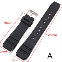 18mm Black PU Rubber Watch Band Strap fits Armitron Watches - $14.99