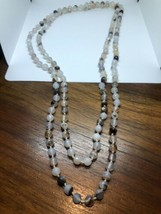 Vintage White Onyx 60 Inch Hand Knotted Beaded Necklace - $94.05