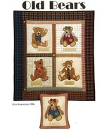 """1996 Four Old Bears Wall Quilt Hanging Pillow Applique Sew Pattern 32"""" x... - $12.60"""