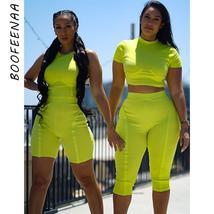 BOOFEENAA Two Piece Set Neon Green Clothes Women Ribbed Knit Bodycon Cas... - $36.92+