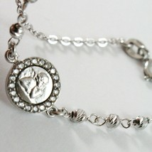 18K WHITE GOLD BRACELET FOR KIDS WITH GUARDIAN ANGEL MADE IN ITALY 5.91 INCHES image 2