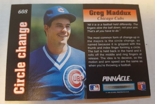 1992 Pinnacle #608 Greg Maddux Chicago Cubs Baseball Card