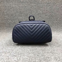 AUTH CHANEL NAVY BLUE CHEVRON QUILTED LEATHER LARGE URBAN SPIRIT BACKPACK SHW image 4