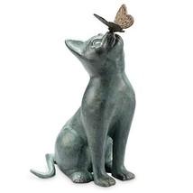 "SPI Home Cat and Butterfly Curiosity Garden Statue Green 7.5"" x 10.5"" x 15"" - $135.07"