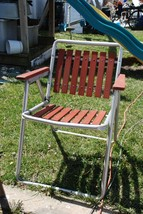 Vintage REDWOOD FOLDING CHAIR Aluminum lawn Metal Wooden Great Condition - €44,75 EUR