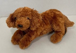 Ty Beanie Buddy Fitz Dog Plush orange brown puppy lying down tysilk - $9.89