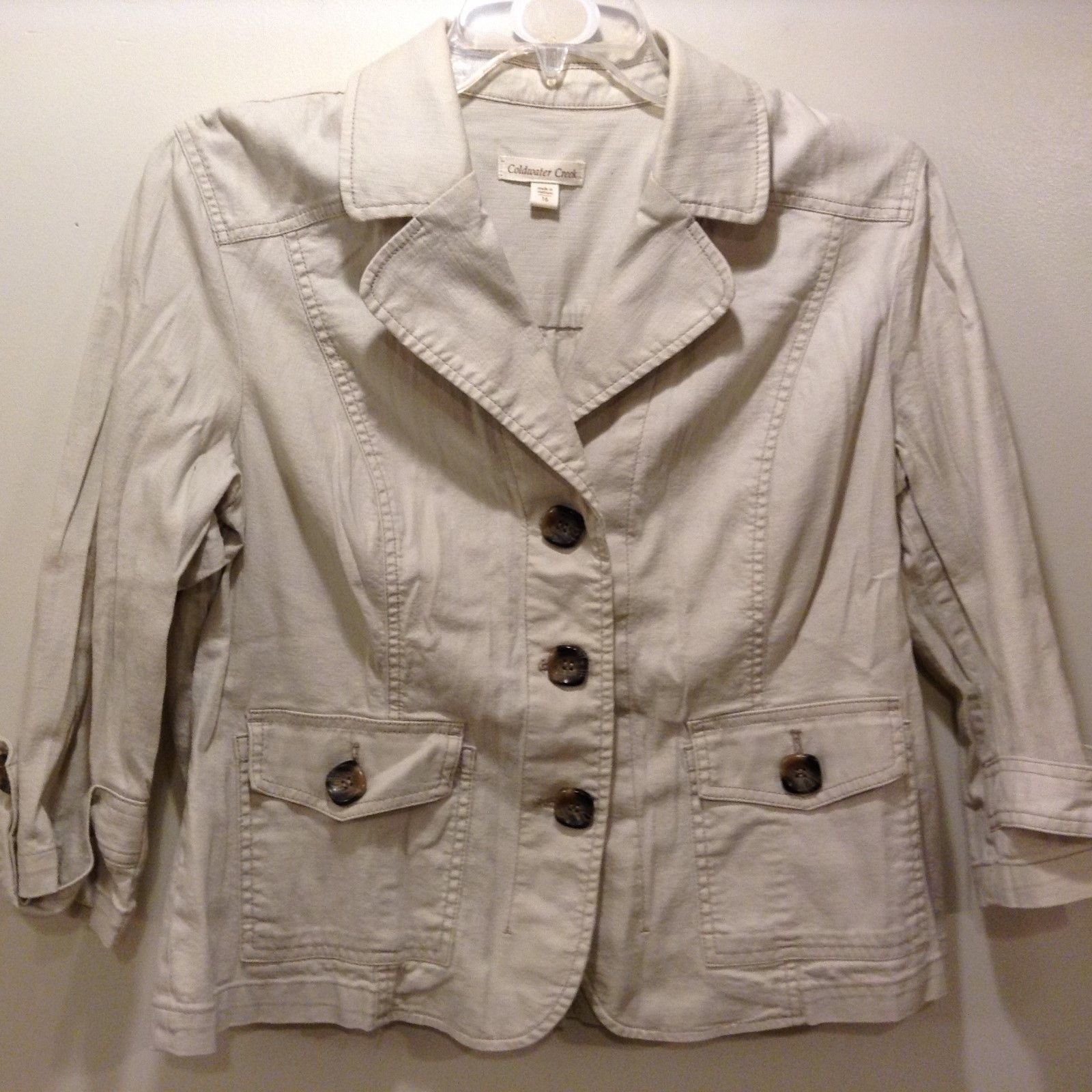 Coldwater Creek Ladies Spring/Fall Beige Jacket Sz 16
