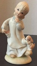 Lefton China Figurine Girl Dog Never Leave Me Christopher Collection 198... - $14.80