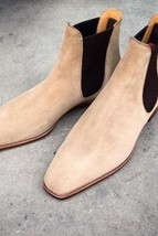 Handmade Men's Beige Suede Chelsea Dress Formal Shoes image 4