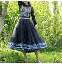 Women Girl Short Ruffle Layered Tulle Skirt Outfit Plus Size Tulle Holiday Skirt image 3
