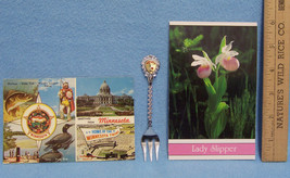 Vintage Minnesota Souvenir Lot of 2 Postcards and a Collector Fork - $9.89