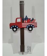 Patriotic 4th of July Red Truck Door Metal Wreath Hanger Holder - $19.99