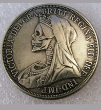 Hobo Nickel Creative 1893 Great Britain Queen Victoria veiled head Skull... - $11.99