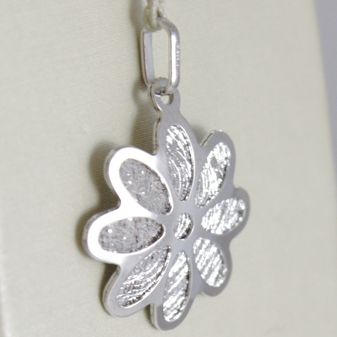 WHITE GOLD PENDANT 750 18K DAISY FLOWER PENDANT MILLED LONG 2.2 CM