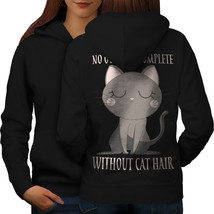 Without Cat Hair Sweatshirt Hoody Animal Women Hoodie Back - $21.99+