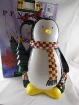 "Debbie Mumm Christmas Penguin Earthenware Cookie Jar 12"" Sakura - $39.59"