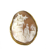Antique Victorian Gold Filled GF Cameo Rebecca at the Well 1860s Brooch Pin - $80.99