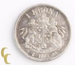 1876-ST Sweden 1 Krona (Very Fine+, VF+) Oscar II Silver Coin One 1Kr KM-741 - $84.15