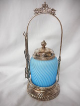 Antique Light Blue Satin Glass Swirl Pattern Victorian Pickle Castor - $886.55