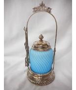 Antique Light Blue Satin Glass Swirl Pattern Victorian Pickle Castor - $886.55