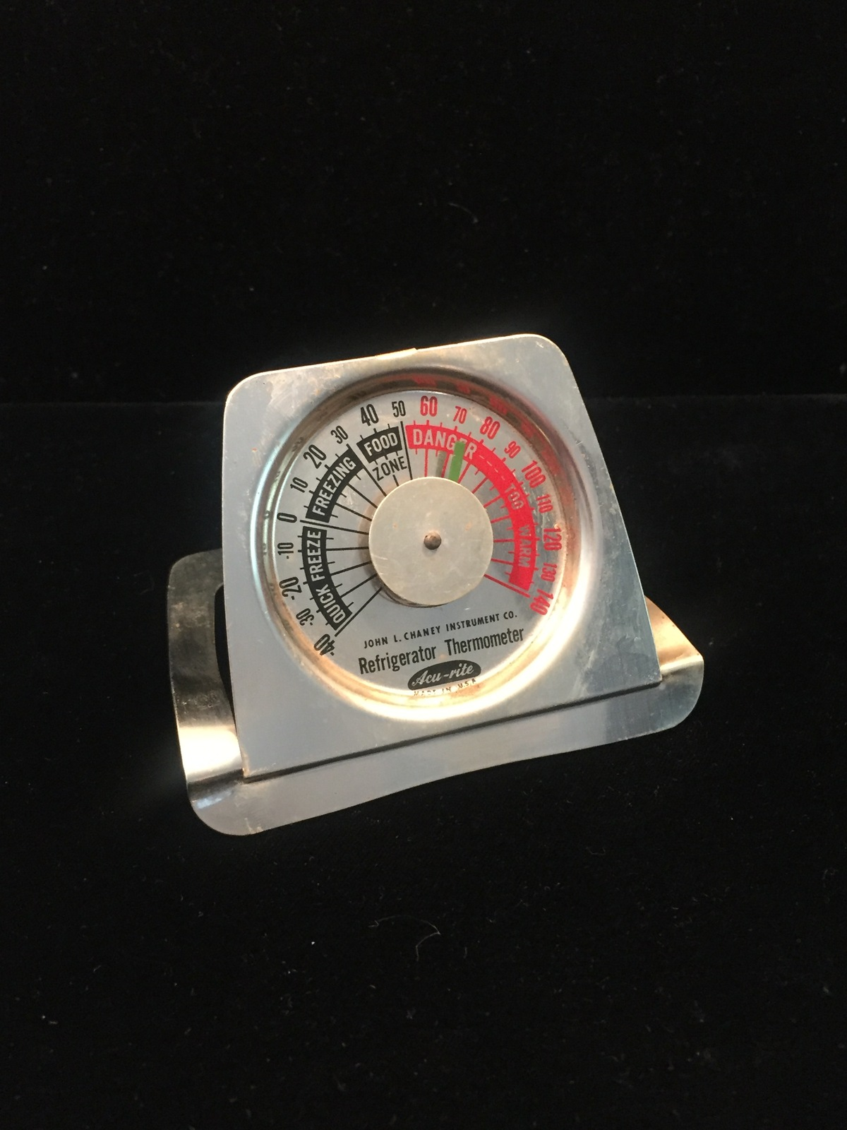 Vintage Acu-Rite refrigerator thermometer - fold up, giveaway item