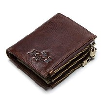 Contacts RFID Mens Genuine Leather Double Zipper Coin Pocket Bifold Purs... - $38.36